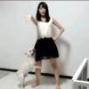 女性のダンスに発情する犬のフレンチ・ブルドッグ